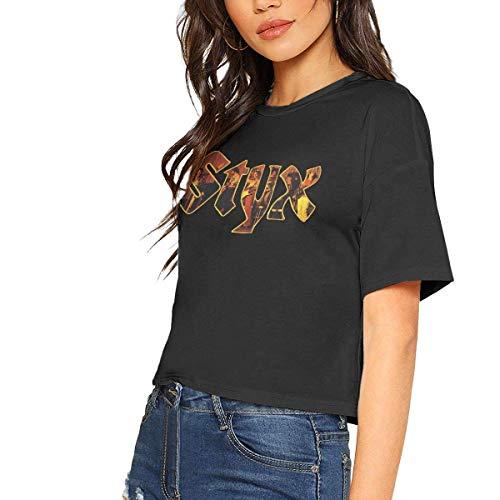 Styx Sexy Exposed Navel Female T-Shirt Bare Midriff Crop Top T Shirts,Black,Medium -