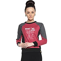 Campus Sutra Maroon Womens Combination Printed Sweatshirt (AW15_HTRI_W_NEW_MA_XL)