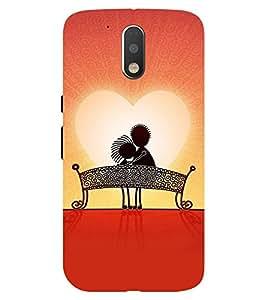 Chiraiyaa Designer Printed Premium Back Cover Case for Moto G4 Plus (heart couple boy girl friend valentine miss kiss sun) (Multicolor)