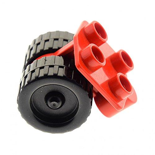Bausteine gebraucht 1 x Lego Duplo Rad Rot mit 4 Noppen Fahrwerk Passagier Flugzeug Hubschrauber Airplane dupwheel01c01