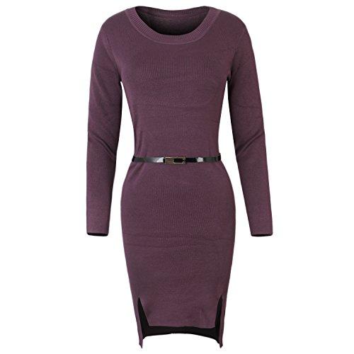 ililily Damen Sexy Lang Ärmel Stretchable Knie Länge Körperbewusstsein Freizeitkleidung Kleid, Purple (Free Ärmel Hugs Lange)