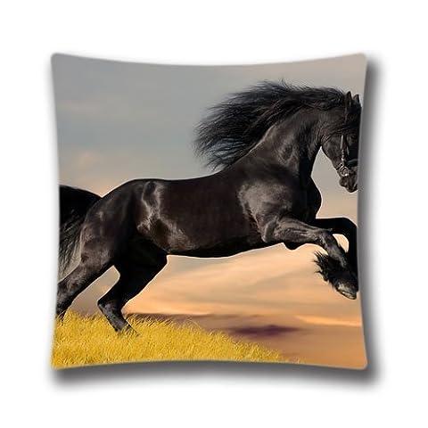 Zipper Design Black Horse Throw Pillowcase, 18x18 inches Pillow Sham (Twin sides) AnasaC28934