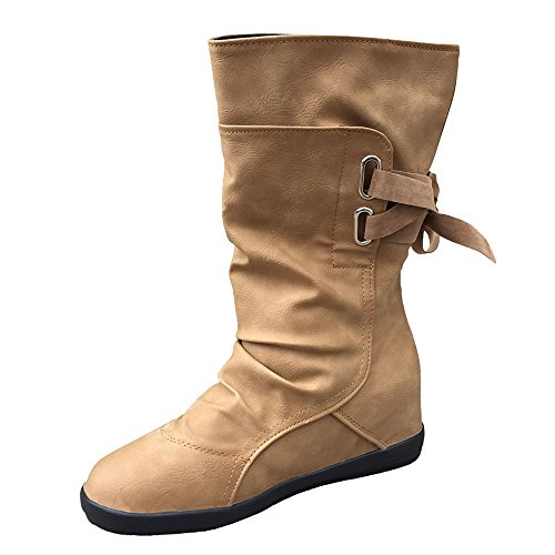 TianWlio Frauen Herbst Winter Stiefel Schuhe Stiefeletten Boots Stiefel Niedrige Keilschnalle Biker Ankle Trim Flache Ankle Boots Schuhe Braun 38