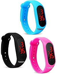 Tonsy Silicone Slim Digital LED Black Red Dial Boy's and Girl's Bracelet Band Watch - Combo Set of 3 Watch for Kids Boys and Girls Kids Boys Watches/Men's Watches/Under 200 Watch