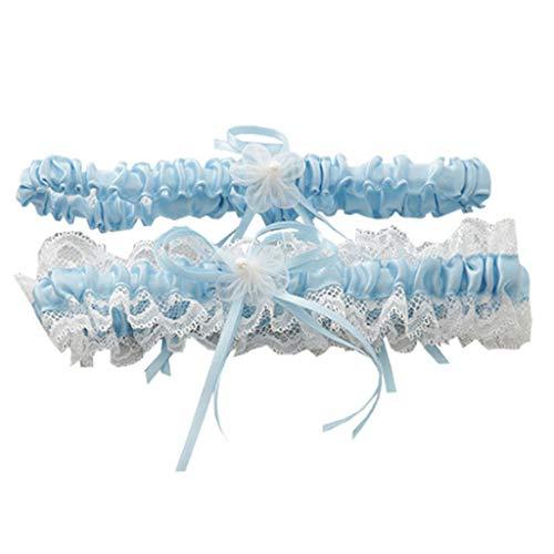 GET Fresh Hochzeit Braut Oberschenkel Strumpfbänder Set Plissee Rüschen Lace Bowknot Floral Imitation Perle elastisches Bein Ring-Blau