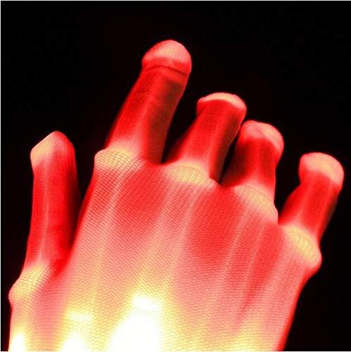 MEICHEN 1 stücke LED Blinkende Handschuhe Leuchten Finger Beleuchtung Dance Party Dekoration Glow Party Supplies Choreographie Requisiten Weihnachten,Red
