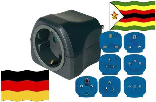 Preisvergleich Produktbild Reise-Adapter Simbabwe auf Deutschland ZW - GER Travel Plug SIMBABWE-Reise (Schutzkontakt)