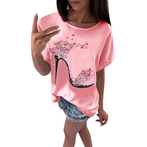 OVERDOSE Frauen Kurzarm Blumen Pumps Gedruckt Tops Strand Beiläufige Lose Bluse Top T-Shirt (EU-36/CN-S, X-d-rosa) (20 Halloween-kostüme Besten)