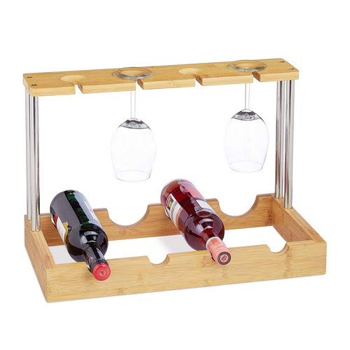 Relaxdays Weinregal Bambus, Flaschenregal, für 4 Flaschen, 4 Gläser, 2 Ebenen, Holz-Optik, HxBxT: 33 x 50 x 25 cm, natur