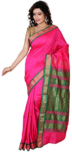 Aruna Fashions Self Design Paithani Gatti 3D Art Silk Saree( Dark Pink color saree with Dark Pink color blouse piece)  available at amazon for Rs.999