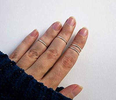 Bague de phalange ajustable minimaliste en fil d'argent 950 nombre au choix