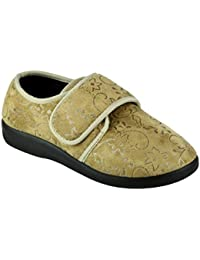 bfe7b46b6e4 GBS Med POOLE Ladies Medical Floral Slippers Beige