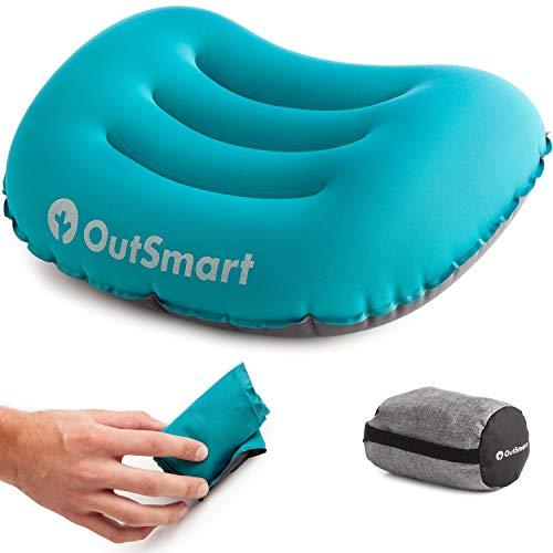 OutSmart Cuscino Gonfiabile da Campeggio - Cuscino leggero e morbido, assicura un sonno confortevole in viaggio, in aereo o in Campeggio, per testa e collo - Pesa solo 2.75 oz