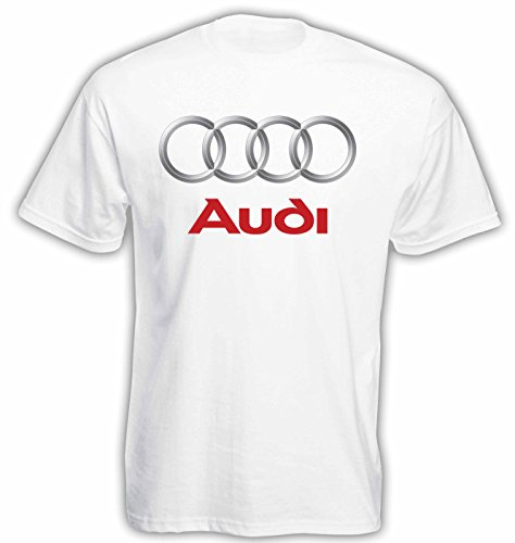Audi Logo Herren T-Shirt Kurzarm (Weiss, XL)