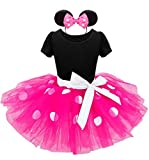 Jastore Mädchen Kostüm Kinder Karneval Kostüm Set Faschingsfest Kleid Ballettanzug Haarreif mit Maus Ohren (Rosa, 100(2 Jahre))