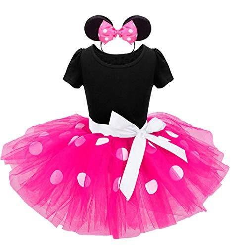 Jastore Mädchen Kostüm Kinder Karneval Kostüm Set Faschingsfest Kleid Ballettanzug Haarreif mit Maus Ohren (Rosa, 110(3 Jahre))