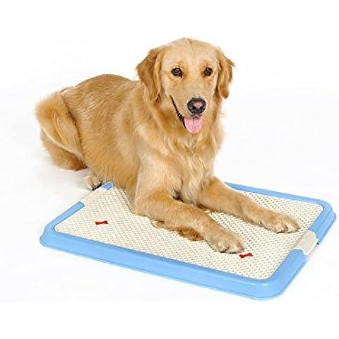 Locisne Perro de mascota para mascotas Toilet Toilet Doggy entrenamiento potty remiendo Pad Pad Paddle de mascotas portátil de esquina con 1pcs Diaper Mat para perros (s no pared azul)