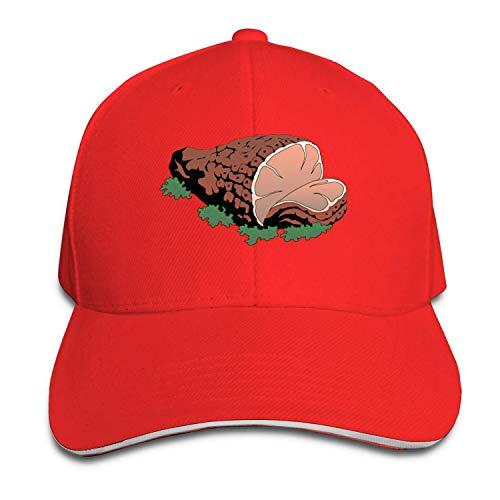 Quakess Thanksgiving Day Ham Baumwolle Leichte Adjustable Peaked Baseball Cap Sandwich Hat Männer Frauen, Rot, OneSize