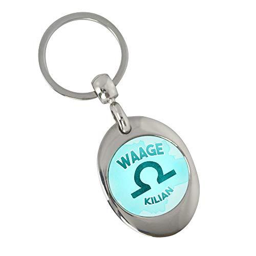 Eurofoto Schlüsselanhänger mit Namen Kilian und Sternzeichen Waage   Namens-Anhänger mit Einkaufs-Chip für Kinder und Erwachsene