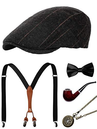 Zivyes 1920er Herren Zubehör Gatsby Gangster Kostüm Zubehör Set Manhattan Fedora Hut Strapse Fliege Taschenuhr - - Einheitsgröße