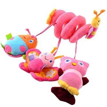 Hosim attività del bambino della greppia dei giocattoli passeggino hanging presepe tatuaggi wrap around culla ferroviaria passeggino passeggino giocattolo (pink butterfly)