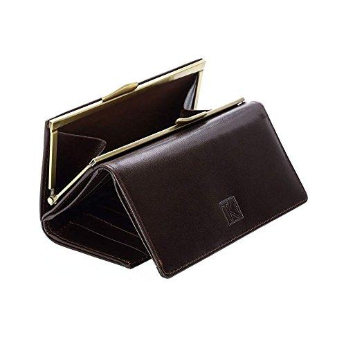 TK 1979 - Portefeuille femme cuir véritable. grand porte monnaie - TK186 Collection MAGLI MILANO - Marron, Cuir