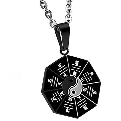 """cupimatch Hombres del Acero Inoxidable Retro redonda amuleto colgante Tai Chi Ocho Diagramas Yin Yang collar con cadena de 22"""""""