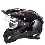 1-1 Road Off-Road Helmets Full-Face Motocross Anti-UV Anti-Fog Adult Double Sun Visors Outdoor Cycling Riding,Brightblack,L