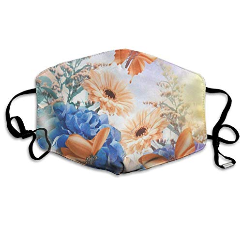 Miedhki Dustproof Anti-Bacterial Washable Reusable Butterflies Daisies Mouth Cover Mask Respirator Germ Protective Breath Healthy Safety Warm Windproof Mask Fashion4 Butterfly Beanie Baby