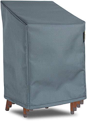 Hentex Schutzhülle für Gartenstühle Stapelstühle Abdeckung,Wasserdichtes,Grau, 75x78DxH65/110 cm