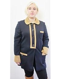 TOP SHOP Navy & Tan Trim Button Up Jacket