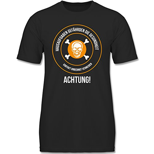 Shirtracer Sprüche Kind - Hausaufgaben gefährden Die Gesundheit - 152 (12-13 Jahre) - Schwarz - F140K - Jungen T-Shirt (Hausaufgaben-kinder-t-shirt)