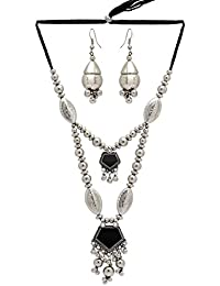 Jaipur Mart Black Color Alloy Necklace With Earrings For Women (GSN733BLK)