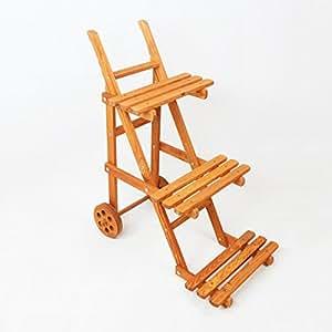Fioriera a gradini in legno su ruote 3 livelli di pianta for Fioriera a scala