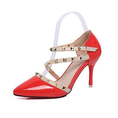 Moda Donna Sandali Sexy donna tacchi Primavera / Estate / Autunno tacchi / Punta partito in pelle e la sera abito / Stiletto Heel cordone Red