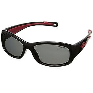 Polaroid Eyewear P0403 Occhiali da sole, Rettangolari, Polarizzate, 47, Nero Rosso