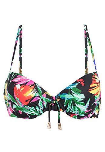 Palmers - Fantasy Leaves - Bügel-Bikini-Oberteil - Schwarz-Bunt, Größe M (C-Cup), Farbe Schwarz-Bunt -