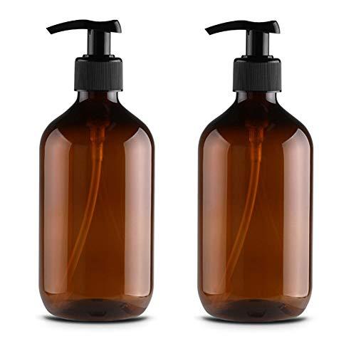Xinxinchaoshi 2-teilige Seifenspender Lotion Flüssigkeitsspender Duschpumpe Runde Schulter Vorratsflasche für Familienhotels und Reisen (Color : Brown, Größe : 500ml) -