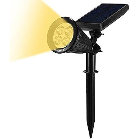 Lámpara LED Grandbeing Luz Solar, Aplique Solar de Luz Cálida Súper Brillante Con Dos Modos de Iluminación Para Pared Exterior, Escalera, Paso, Jardín y Patio (Negro)