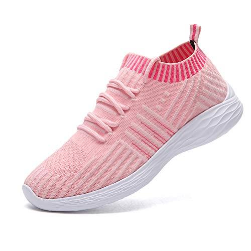 nishiguang Women Fashion Sport Shoes Walking Trainers (Casual Lightweight Breathable) Mesh Running Shoes(Pink37) Womens Casual Schuhe