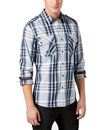 Guess Herren Militär Sport Shirt Karo - Blau - XX-Large