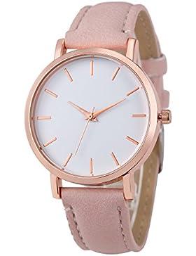 ♥ Loveso-Damen uhr ♥ Armbanduhr Arbeiten Sie einfache Edelstahl Uhren-Lederband analoge Quarz-Armbanduhr_Pink