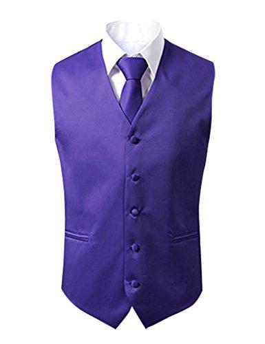 Herren 3 Stueck Weste NeckTie Tasche Square Set fuer Anzug oder Smoking von Judi Dench Lila