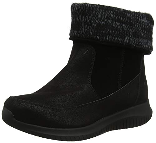 Skechers Ultra Flex, Botines para Mujer, Negro Black Suede/Micro Leather BBK, 4 EU