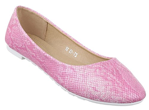 Damen-Schuhe Ballerinas | elegante Slipper mit Blockabsatz in verschiedenen Farben und Größen | Schuhcity24 | Loafers Rosa