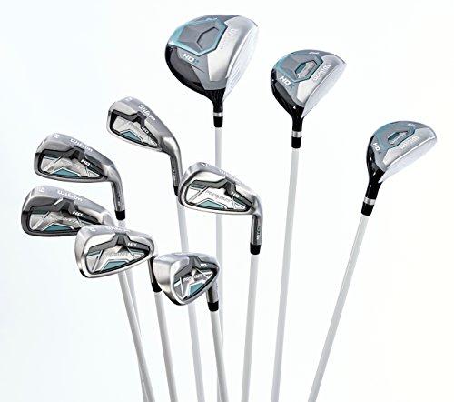 Damen Wilson ProStaff HDX Golf Komplettset + 1 inch Eisen 6-SW, Driver, Hybrid, Holz, Putter (6 Eisen Graphitschaft)