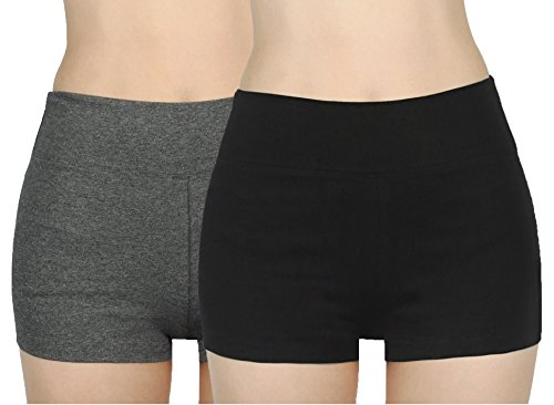 iLoveSIA 2X Shorts Damen kurz Schwarz+grau Frauen Jogging Sport Fitness Shorts Yoga Shorty,M (Shorts Frau)