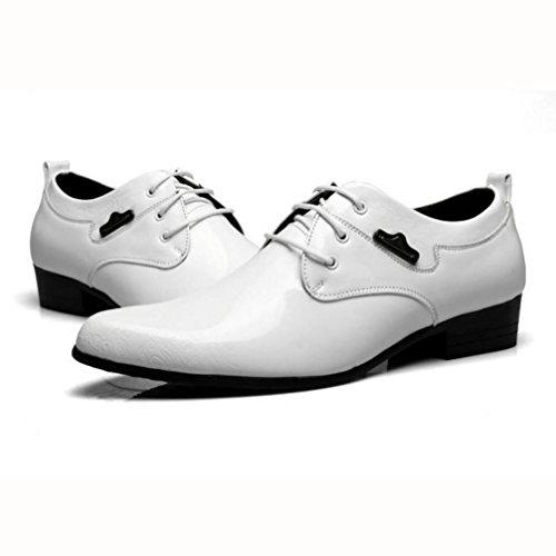 WZG Les nouvelles chaussures d'affaires pour hommes chaussures en cuir pour hommes de haute qualité en cuir verni Chaussures pointues en dentelle chaussures habillées en dentelle de mariage des hommes White