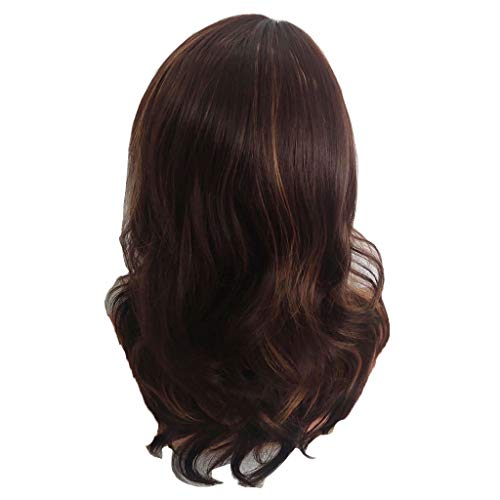 Echthaar Lace Wigs für Frauen,Rifuli® Braun Synthetische flauschige braune Haare natürliche lockige Perücken Lang Gerade Synthetische Perücken volle Pony Waschbar Atmungsaktiv