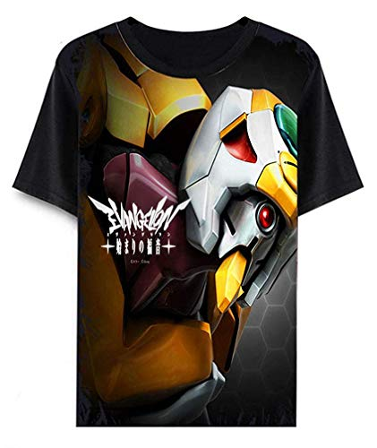 Neon Genesis Evangelion Eva Anime T-Shirt Cosplay Kostüm Sommer Kurzarm Tee Top Shirts (Color : Schwarz 5, Size : S) (Genesis Cosplay Kostüm)